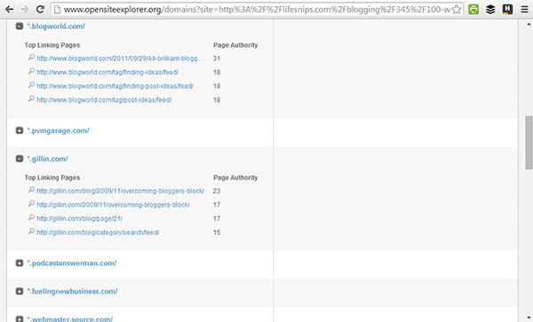 linking pages report - opensiteexplorer