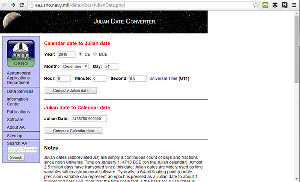 Julian date converter
