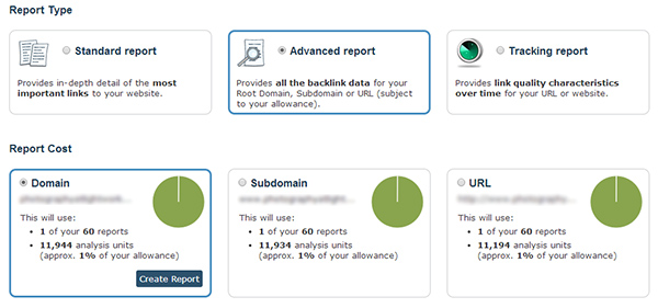 run an advanced report in majestic seo