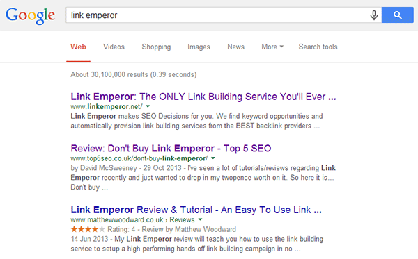 link emperor search results